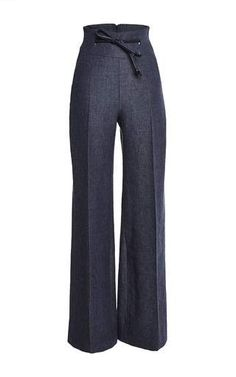 High waisted large pant with leather belt by MARTIN GRANT for Preorder on Moda Operandi