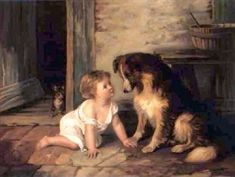 """Making Friends With A Collie"" by Arthur Hacker (1858 - 1919, English)"