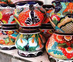 Pottery Available at Barrio Antiguo Talavera Pottery, Ceramic Pottery, Houston Garden, Mexican Garden, Southwestern Decorating, Backyard, Patio, Ceramics, Boho