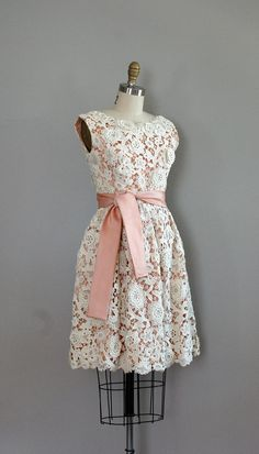 vintage 1960's lace dress with pink