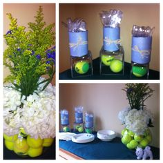 Party for tennis team...centerpiece -large round glass jar filled w/ tennis balls, skinny vase in middle w/ hydrangeas and yellow and purple filler. Utensil holders are progresso cans wrapped in scrapbook paper (school colors) with raffia tied around them. Clear square jars w/ tennis ball(s) offer levels. SO easy and fun :) Tennis Party, Tennis Table, Tennis Decorations, Banquet Centerpieces, Centerpiece Ideas, Tennis Crafts, Tennis Tournaments, Cheer Gifts, Sport Craft