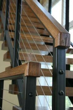 Modern Stair Railing Designs That Are Perfect! Looking for Staircase Design Inspiration? Check out our photo gallery of Modern Stair Railing Ideas.Looking for Staircase Design Inspiration? Check out our photo gallery of Modern Stair Railing Ideas. Cable Stair Railing, Modern Stair Railing, Stair Railing Design, Metal Stairs, Metal Railings, Staircase Railings, Banisters, Staircase Ideas, Staircase Remodel