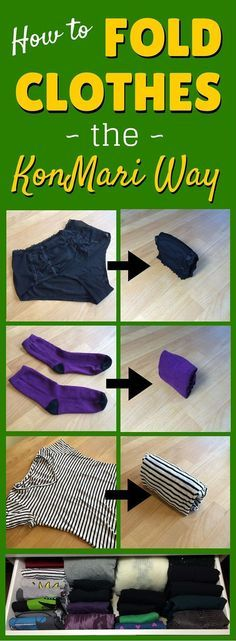 Video demo: How to fold clothes the KonMari way (including t-shirts jumpers shirts hoodies tank tops underwear socks trousers dresses skirts bras swimwear and workout gear) -- Home Organisation, Household Organization, Closet Organization, Organization Ideas, Organizing Hacks, Organizing Your Home, Organising, Organizar Closet, Diy Rangement