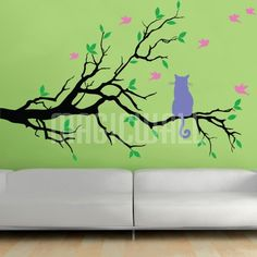 Wall Decals - Cat On Branch With Birds - Wall Stickers