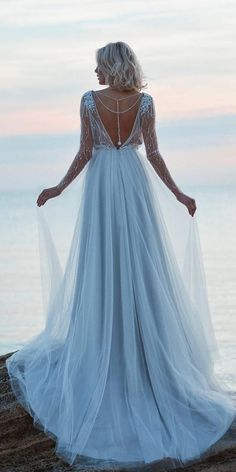Dreamy Blue Wedding Dresses To Inspire ★ colored wedding dresses 18 Dreamy Blue Wedding Dresses To Inspire Light Blue Wedding Dress, Blue Wedding Gowns, Dream Wedding Dresses, Bridal Dresses, Unique Colored Wedding Dresses, Romantic Dresses, Lace Beach Wedding Dress, Bridesmaid Dresses, Wedding Bridesmaids