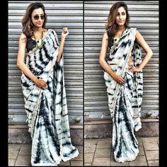 Silk & Moss Lace Work Printed Black & Off-White Designer Saree - 3013