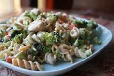 Chicken Pasta Salad -Easy to throw in the cooler and eat cold while you are on the go. Put whatever veggies you like in it!