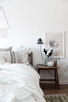 Calm white bedroom with modern rustic details | Design*Sponge