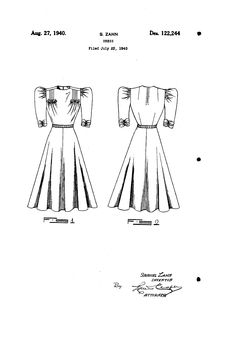 1940 DESIGN FOR A DRESS  Samuel Zahn