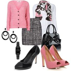"""""""Pink, black and white #652"""" by highheelsandhotflashes on Polyvore"""