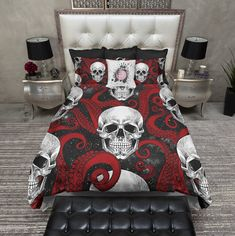 Red Octopus Tentacle Black Galaxy and Skull Bedding