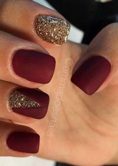 Matte nails, red nails, glitter nails, gold nails, fall nails, nail art, nail de… http://www.beautyandfashion.top/2017/08/03/matte-nails-red-nails-glitter-nails-gold-nails-fall-nails-nail-art-nail-de/