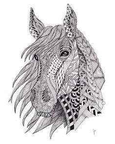 zentangle horse - Google Search by della