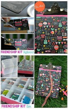 Make your own friendship kit with this tutorial. Easy diy decoupage clipboard and festive storage kit on Frugal Coupon Living. Crafts To Do, Diy Craft Projects, Craft Tutorials, Crafts For Kids, Diy Crafts, Easy Diy Decoupage, Diy Friendship Bracelets Kit, Bracelet Crafts, Bracelet Box