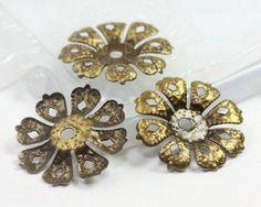 Antique Bronze Flower Bead Caps Filigree Bead Caps by TrinketHouse, $3.90