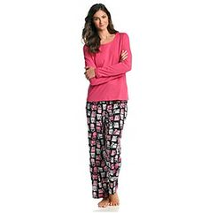Intimate Essentials® Pink/Black Knit/Fleece Pajama Set - Cool Cats at www.carsons.com