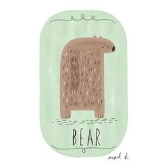 Bear - 6x4 art print - Available in pink, peach, cream, green, teal, blue & purple - Kids room art