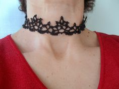 Tatting (Frivolite) Lace Collar Necklace - Tatted Black Choker by CarmenTattedLace on Etsy