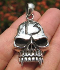 925 Sterling Silver Skull pendant necklace  jewelry art Thailand A7