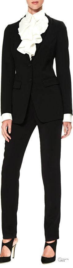 Armani Collezioni ● Two-Button Suit & Ruffled Poplin Blouse Beautifuls.com Members VIP Fashion Club 40-80% Off Luxury Fashion Brands