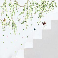 Botanisk+Tegneserie+folk+Veggklistremerker+Fly+vægklistermærker+Dekorative+Mur+Klistermærker,Vinyl+Materiale+Vaskbar+Kan+fjernesHjem+–+NOK+kr.+665