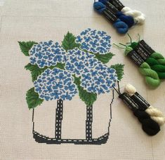 Hydrangeas are one of my favorite 💐. Llbean, Hydrangeas, Canvases, Girl Scouts, Needlepoint, Tote Bags, Blue And White, Crafty, Embroidery