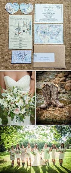 Romantic, Map-Themed Summer Tennessee Wedding   WeddingWire: The Blog, www.cedarwoodweddings.com. Photos by Ace Photography
