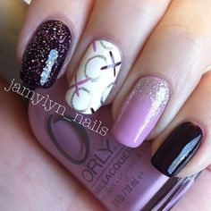 """""""XOXO""""  Colors used are Sally Hansen - Plum Luck, Sinful Colors -  Miss You, ORLY - Lollipop  and Mirror Mirror and a Pure Ice glitter @jamylyn_nails"""