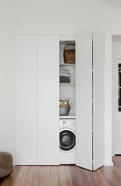 Discover the best doors for your small laundry alcove — Verity Jayne Neat and stylish bifold doors using VJ style panels, hiding a laundry. Laundry Cupboard, Utility Cupboard, Laundry Room Doors, Laundry Closet, Small Laundry Rooms, Laundry Room Storage, Bathroom Doors, Laundry In Bathroom, Basement Laundry