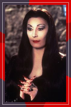 Halloween Costume  Long, Dark Hair: Morticia Addams From The Addams Family  For you, Morticia Addams is the most obvious choice — and the easiest to pull off. Straighten your hair and make a severe middle part.