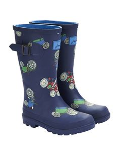 Joules Junior Boys Navy Tractor Wellies £24.95 from Wellies and Worms. Fun farm tractor print, boys blue natural rubber welly boots.