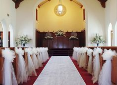 Pew decorations for church wedding wedding ceremony decorations white and gold wedding beautiful and classic white and gold wedding ceremony decorations love the bows junglespirit Image collections