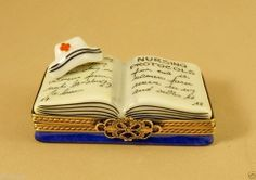 NEW HAND PAINTED FRENCH LIMOGES BOX NURSING PROTOCOLS NURSE MEDICAL BOOK