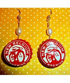 CRAFT BEER BOTTLE CAP PEARL DROP EARRINGS $18.00  from World Coin Jewelry