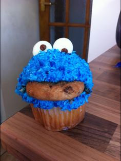 Cookie Monster cupcake with coconut buttercream