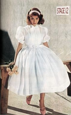 Pier Angeli, M-G-M's young Italian discovery, chooses heavenly cloud-white, perfect for graduation or any summer party.