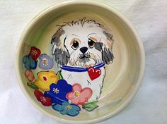Maltese 6 Dog Bowl for Food or Water Personalized at no Charge Signed by Artist Debby Carman >>> See this great product.