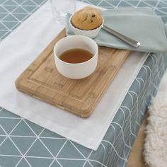 Nappe carrée coton/polyester Teflon antitache triangle scandinave blanc FIKA kaligrafik