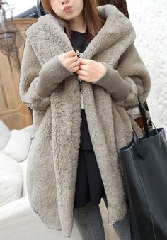 Casual Hooded Neck Solid Color Batwing Sleeves Loose-Fitting Cashmere Coat For Women Looks so soft, warm & comfy. Batwing Sleeve, Long Sleeve, Batwing Cardigan, Sweater Jacket, Cashmere Coat, Sammy Dress, Outerwear Women, Wholesale Clothing, Cheap Wholesale