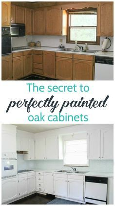 Step by step tutorial for painting oak cabinets white including the best way to get rid of the wood grain. This is one of the best ways to update kitchen cabinets!