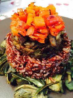 riso rosso con carciofi,melanzane e peperoni