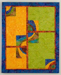 Blue Green Yellow Quilted Wall Hanging  Salsa by cindygrisdela