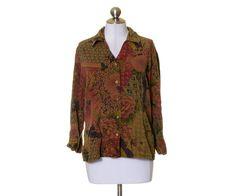 Tianello Brown Green Red Floral Print Button Up Tencel Blend Shirt Size M #Tianello #ButtonDownShirt #Casual