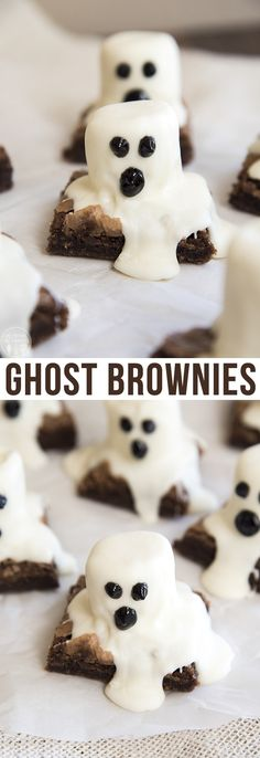 Ghost Brownies - These spooky Halloween Ghost brownies are so easy to make for a fun Halloween treat! Ghost Brownies - These spooky Halloween Ghost brownies are so easy to make for a fun Halloween treat! Halloween Brownies, Halloween Treats For Kids, Halloween Baking, Halloween Ghosts, Holiday Treats, Holiday Recipes, Diy Halloween, Halloween Foods, Easy Halloween Desserts