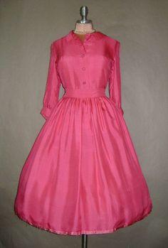 50 S Shirtwaist Dress Vintage 1950 S Vibrant Green