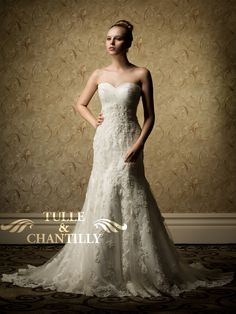 Chic Sweetheart Lace Mermaid Beaded Wedding Gown $487.00 on tulleandchantilly.com