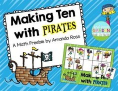 Students practice making combinations to ten with these cute pirate cards on a ten frame. You will need a ten-sided die, a set of number cards 0-10, or a deck of cards with the face cards removed. Students roll the die or pick a card, place that many pirates on the ten frame, and count how many more pirates they need to make ten.