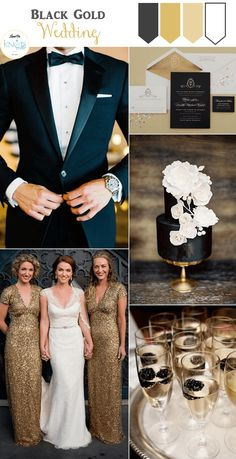 For a new years wedding/vintage gold and black wedding colors and pocket wedding invitations Trendy Wedding, Perfect Wedding, Dream Wedding, Wedding Day, Wedding Gold, Wedding Vintage, Tuxedo Wedding, Black Gold Weddings, Wedding Rings