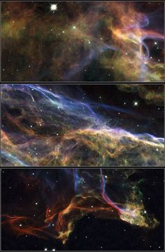 Uncovering the #VeilNebula | Hubble Space Telescope photographed three magnificent sections of the Veil Nebula — the shattered remains of a supernova that exploded thousands of years ago. This series of images provides beautifully detailed views..