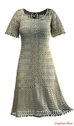 Прекрасное платье классического силуэта. Само изящество и стиль. Связано оно из льняной пряжи. Здесь даны схемы составленные от руки.